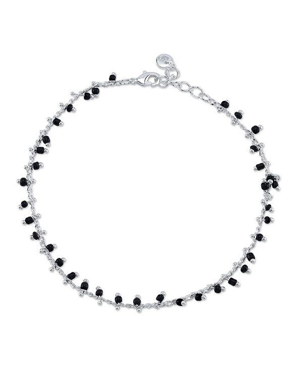 Unwritten Black Bead Link Chain Anklet in Fine Silver Plate
