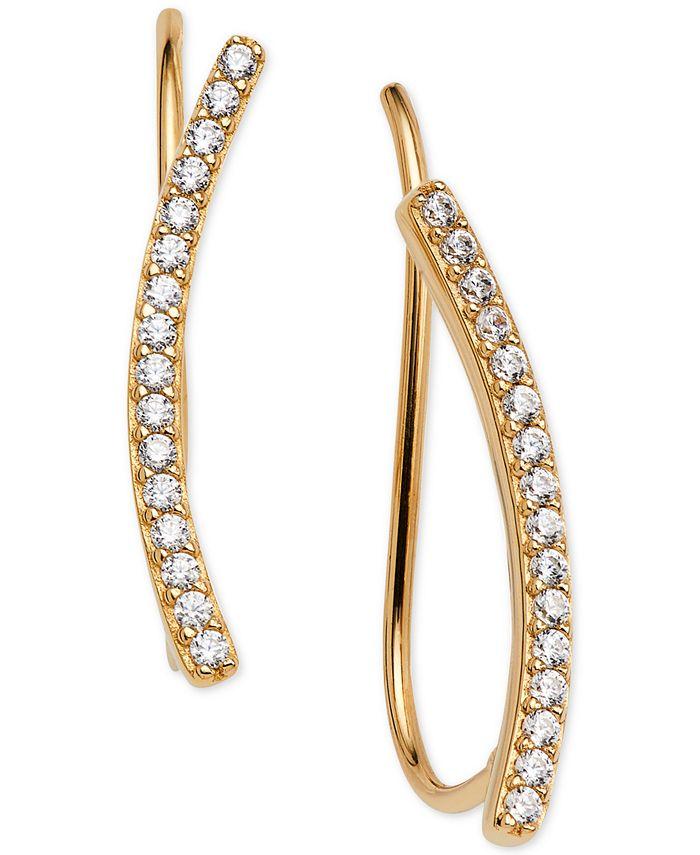 AVA NADRI - 18k Gold-Plated Cubic Zirconia Curved Bar Ear Climbers