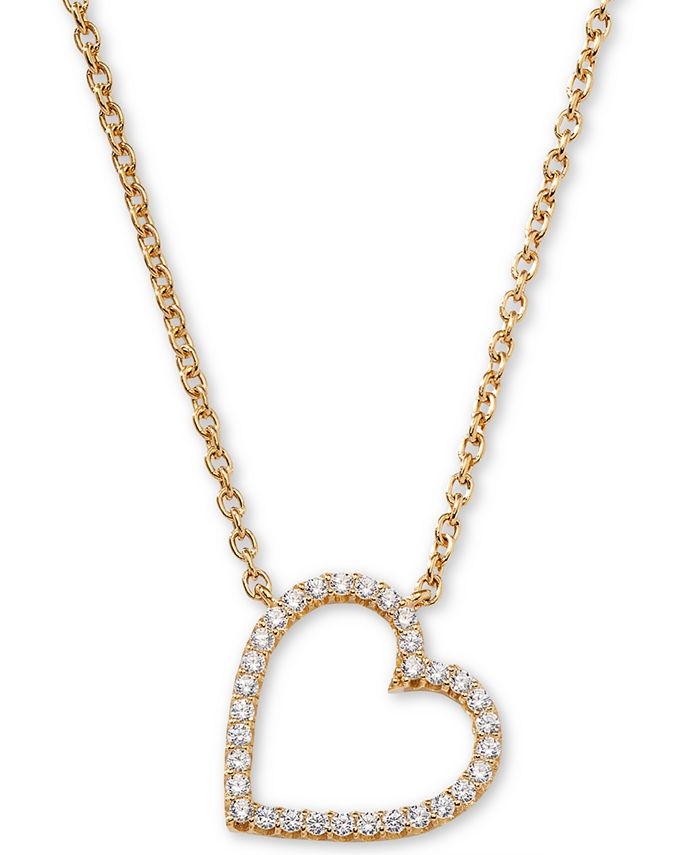"AVA NADRI - 18k Gold-Plated Cubic Zirconia Heart Pendant Necklace, 16"" + 1"""