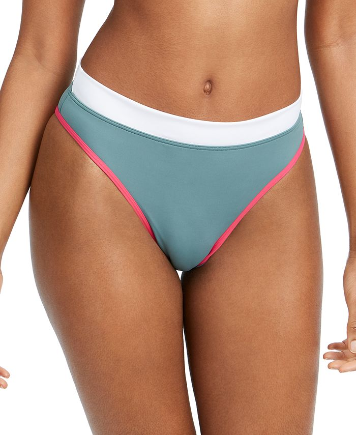 Roxy - Juniors' Swim in Love Colorblocked High-Cut Bikini Bottoms