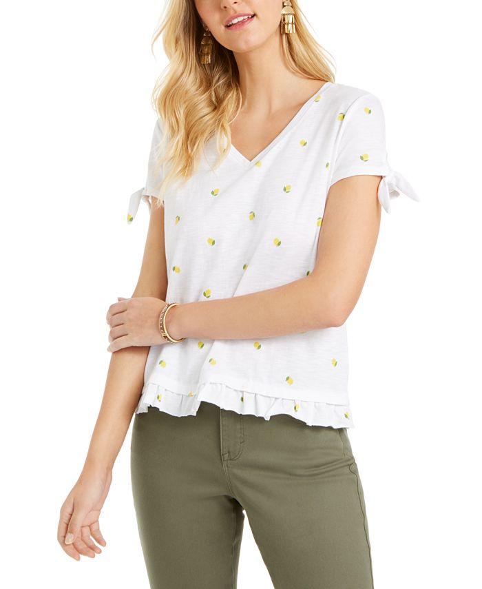 Style & Co - Lemon-Print Ruffled-Hem Top