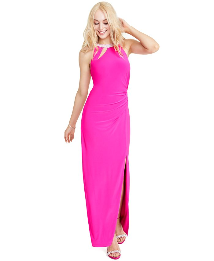 MSK - Juniors' Embellished Cutout Gown