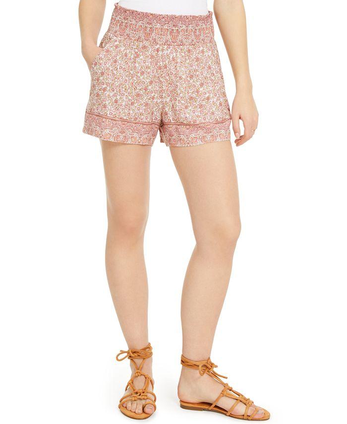 Be Bop - Juniors' Border-Print Smocked-Waist Shorts