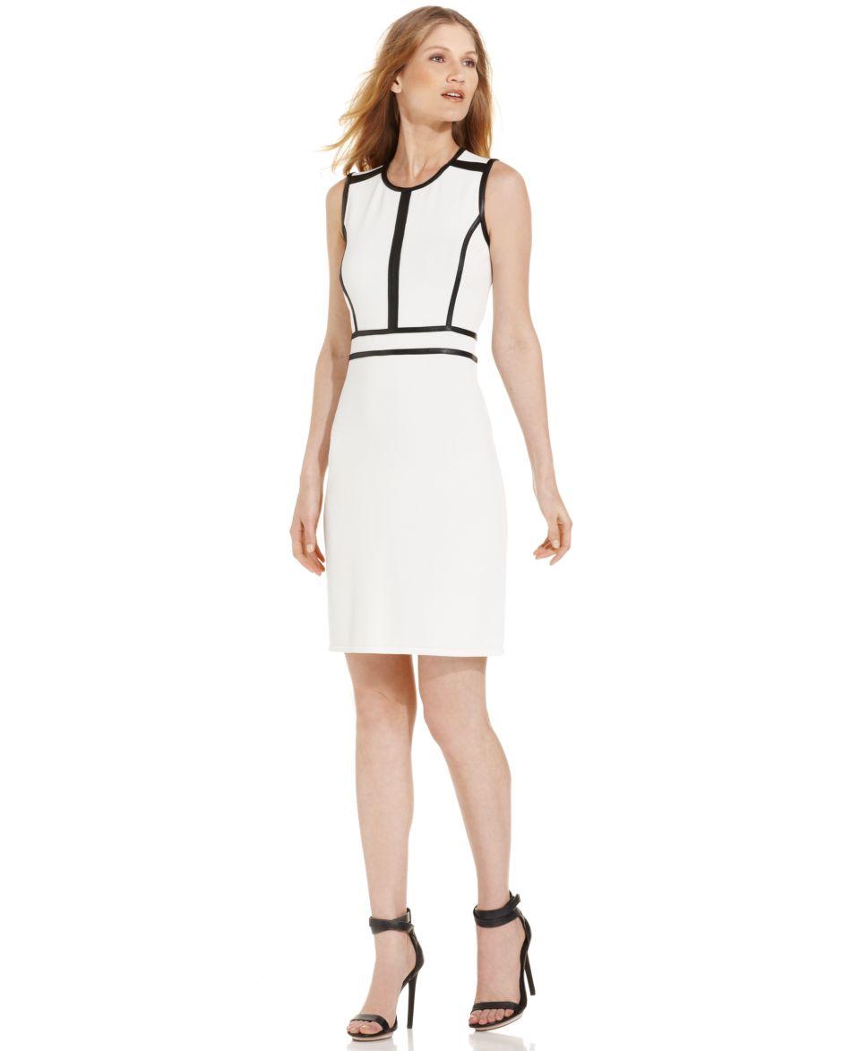 Calvin Klein Faux Leather Colorblock Sheath   Dresses   Women