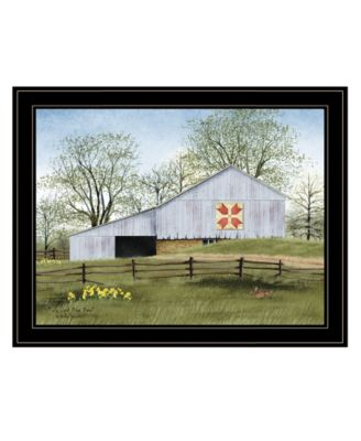 Tulip Quilt Block Barn by Billy Jacobs, Ready to hang Framed Print, Black Frame, 19
