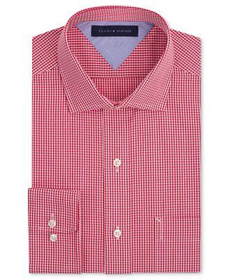Tommy Hilfiger Dress Shirt Red Gingham Long Sleeved Shirt