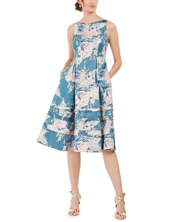 Adrianna Papell - Metallic Jacquard Fit & Flare Dress