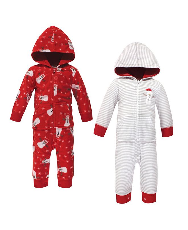 Hudson Baby Baby Girls and Boys Santa Snowman Fleece Coveralls and Playsuits Jumpsuits, Pack of 2