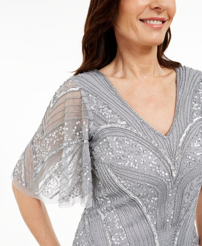 Adrianna Papell Embellished Flutter-Sleeve Top & Reviews - Tops - Women - Macy's