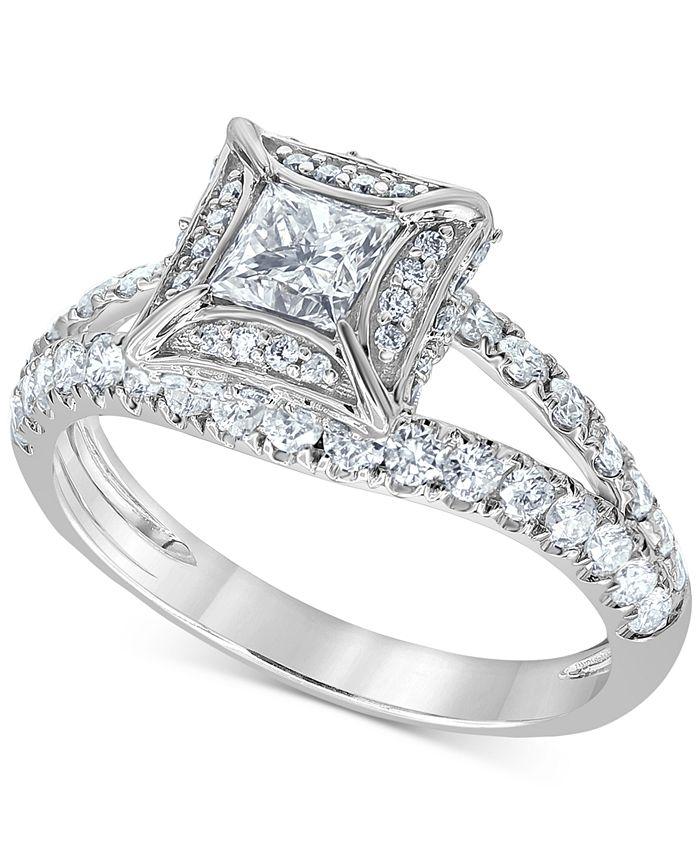 Macy's - Diamond Princess Split Shank Engagement Ring (1-1/4 ct. t.w.) in 14k White Gold