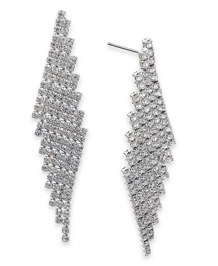 Charter Club - Silver-Tone Angled Pavé Fringe Drop Earrings