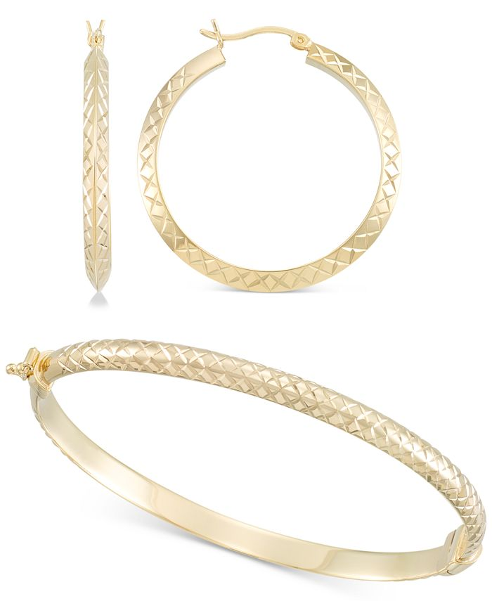 Macy's - 2-Pc. Set Medium Textured Hoop Earrings & Matching Bangle Bracelet in 14k Gold over Sterling Silver