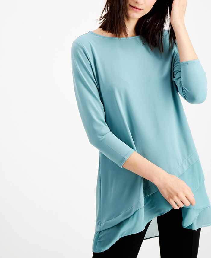 Alfani - Sheer Crossover-Hem Tunic
