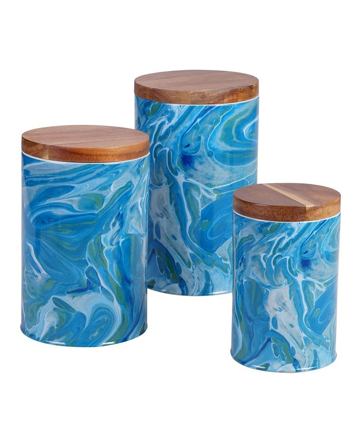 Certified International - Fluidity Canister Set 3-Pc. with Bamboo Lids