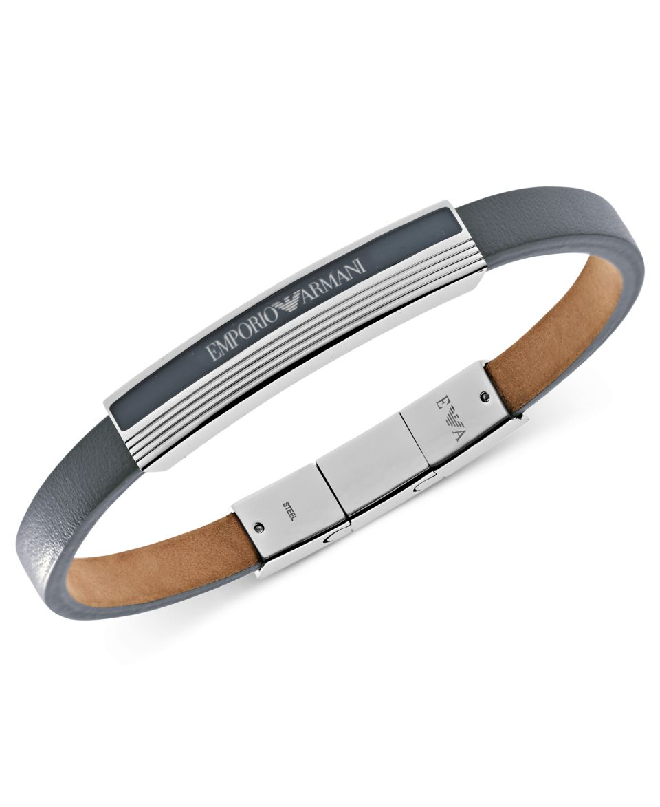 Emporio Armani Mens Bracelet, Stainless Steel and Black Rubber Bracelet EGS1805040   Fashion Jewelry   Jewelry & Watches