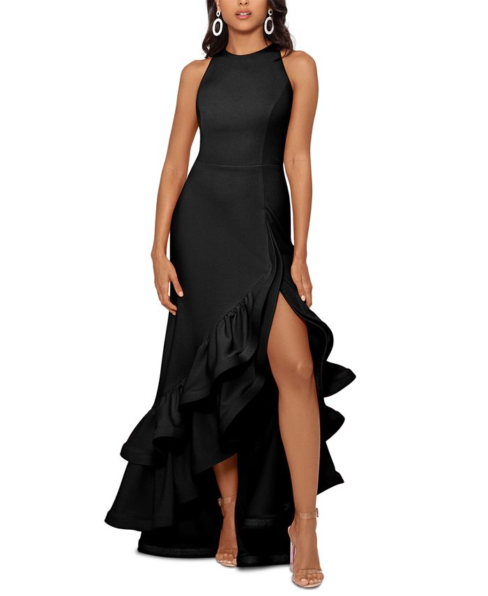 Betsy & Adam - Tiered Ruffles Scuba Crepe Gown