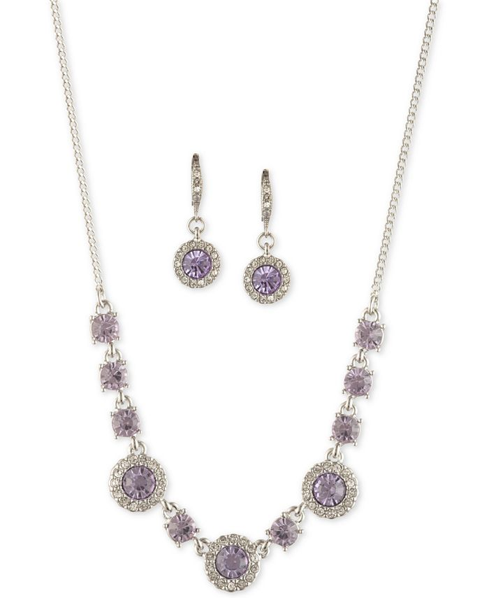 "Givenchy - Crystal Halo Collar Necklace & Drop Earrings Set, 16"" + 3"" extender"