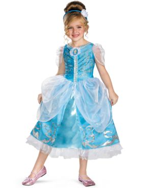 Image of Disney Kids Costume, Girls or Little Girls Cinderella Sparkle Deluxe Costume