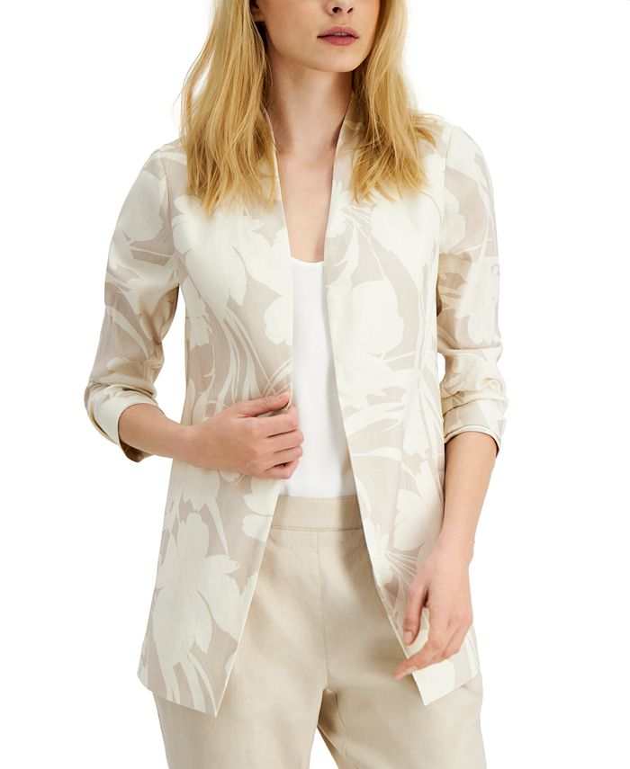 Alfani - Floral-Print 3/4-Sleeve Blazer
