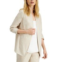 Deals on Alfani Ruched-Sleeve Open-Front Blazer