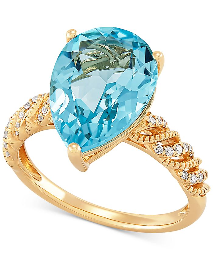 Macy's - Blue Topaz (6-1/4 ct. t.w.) & Diamond (1/10 ct. t.w.) Ring in 14k Gold