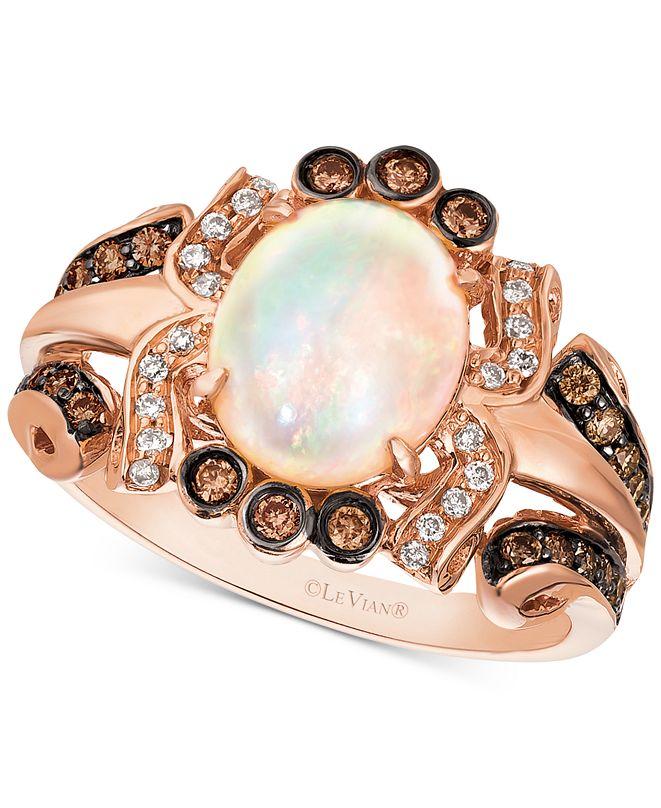 Le Vian Neopolitan Opal (1-1/5 ct. t.w.) & Diamond (3/8 ct. t.w.) Statement Ring in 14k Rose Gold