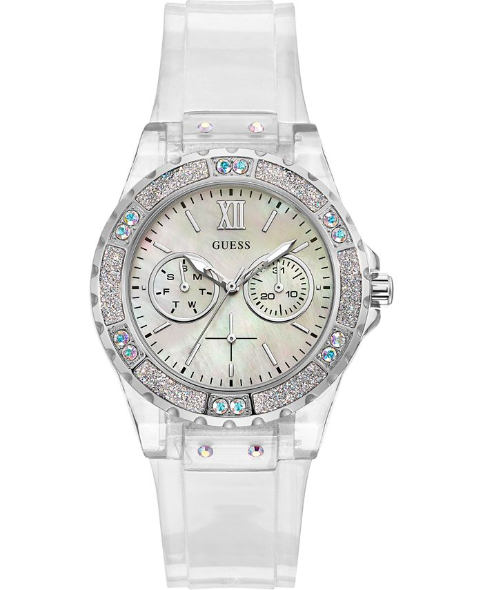 GUESS - Women's Clear Silicone Strap Watch 39mm