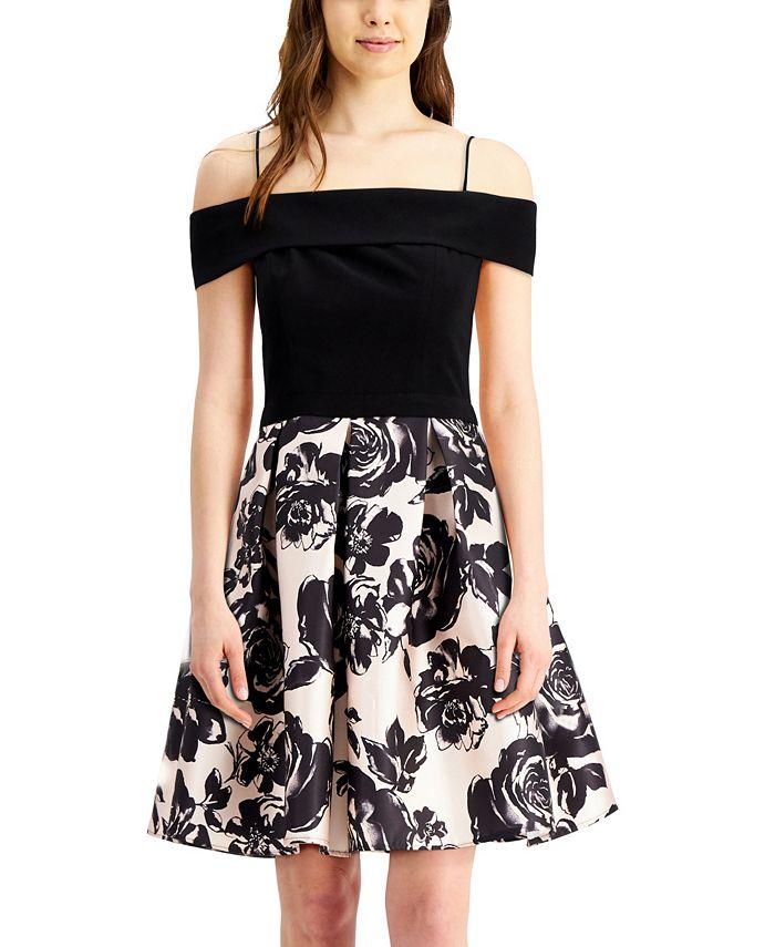 Morgan & Company - Juniors' Off-The-Shoulder Floral Fit & Flare Dress
