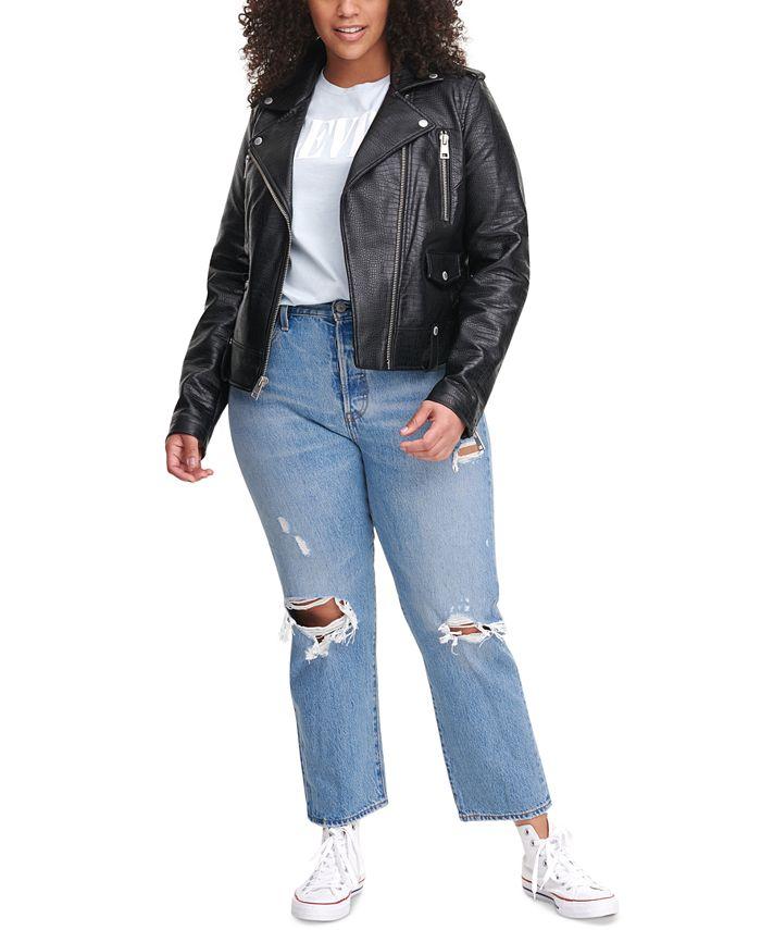 Levi's - Trendy Plus Size Faux-Leather Moto Jacket