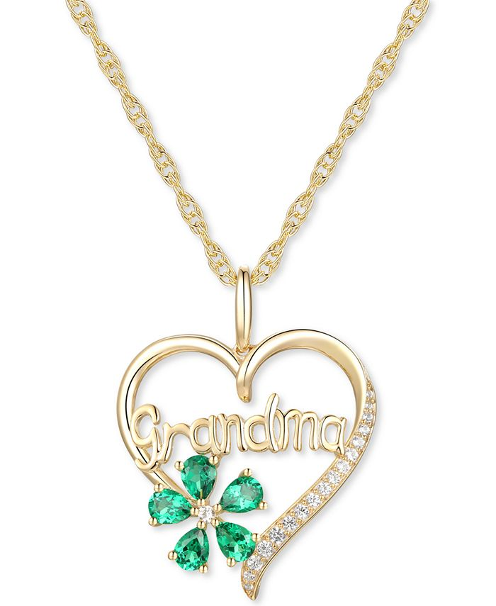 """Macy's - Lab-Created Emerald (5/8 ct. t.w.) & Lab-Created White Sapphire (1/10 ct. t.w.) Grandma 18"""" Pendant Necklace in 10k Gold"""