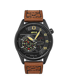 AVI-8 Men's Hawker Harrier II Automatic Ace of Spades Edition Brown Genuine Leather Strap Watch 45mm