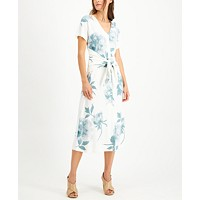 Deals on Alfani Printed Tie-Front Dress