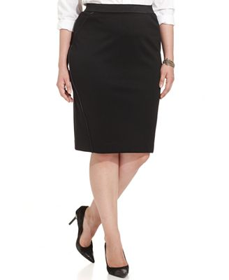 style co plus size skirt faux leather trim pencil