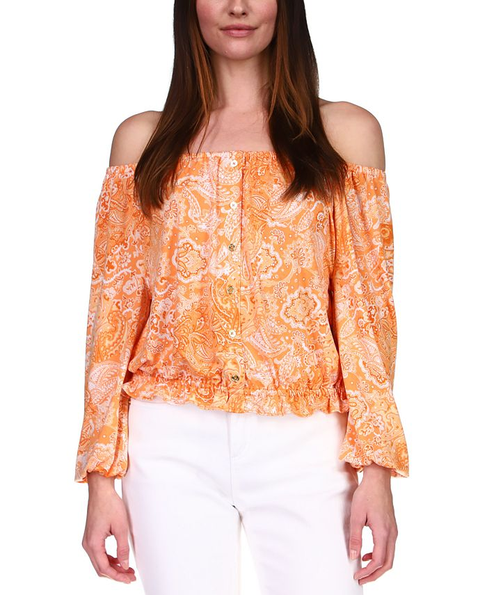 Michael Kors - Paisley Off-The-Shoulder Top, Available in Regular & Petites