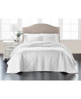 Embroidered Silky Satin Bedspread Full   , Created for Macy's