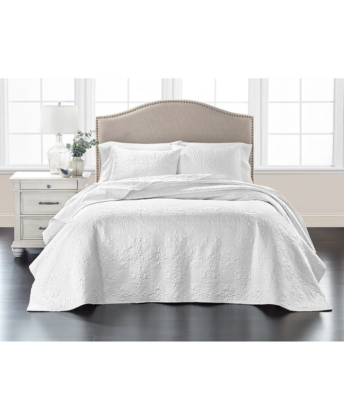 Martha Stewart Collection - Embroidered Silky Satin Bedspread Full , Created for Macy's