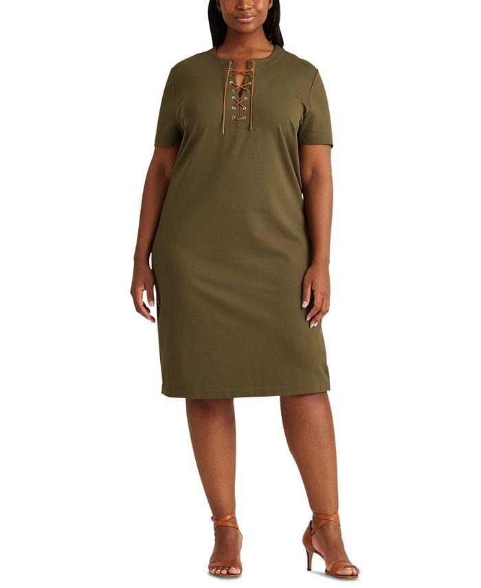 Lauren Ralph Lauren - Plus-Size Lace-Up Ponte Shift Dress