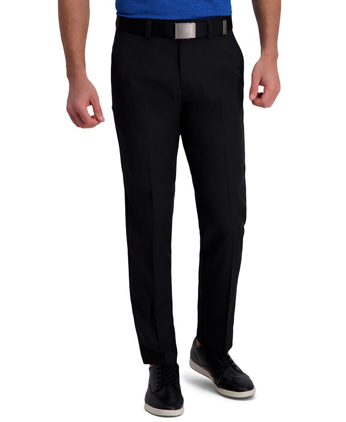 Haggar - Men's Classic-Fit Cool Right Performance Flex Flat-Front Solid Dress Pants