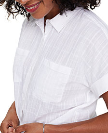 NYDJ Linen Printed Camp Shirt