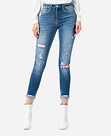 FLYING MONKEY Mid Rise Roll Up Distressed Skinny Ankle Jeans