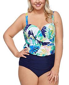 Raisins Curve Trendy Plus Size Palm Springs Maldives Tankini Top & Costa High-Waist Bikini Bottoms