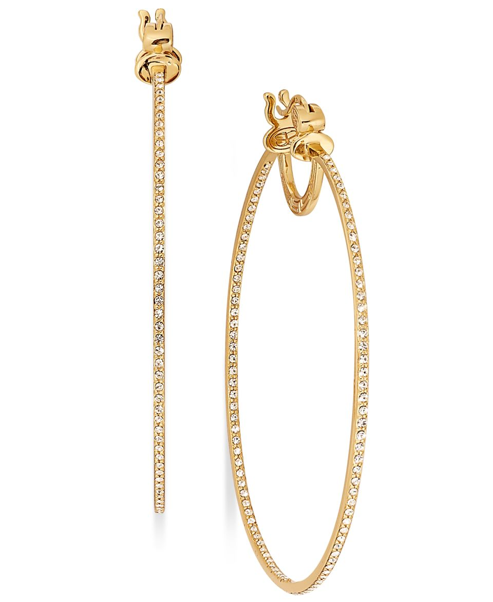 SIS by Simone I Smith 18k Gold over Sterling Silver Earrings, Crystal In and Out Hoop Earrings   Earrings   Jewelry & Watches