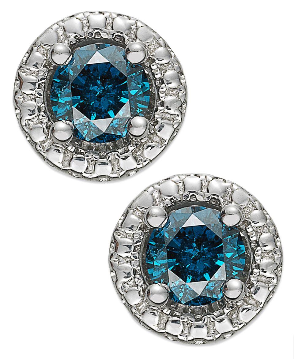 Diamond Earrings, 14k White Gold Blue Diamond (3/4 ct. t.w.) and White Diamond (1/5 ct. t.w.) Halo Stud   Earrings   Jewelry & Watches