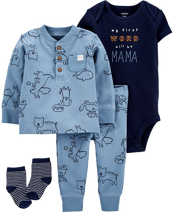 Carter's Baby Boys 4-Pc. Animal-Print Cotton Take-Me-Home Set