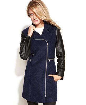Calvin Klein Petite Asymmetrical Mixed-Media Faux-Leather-Sleeve Coat