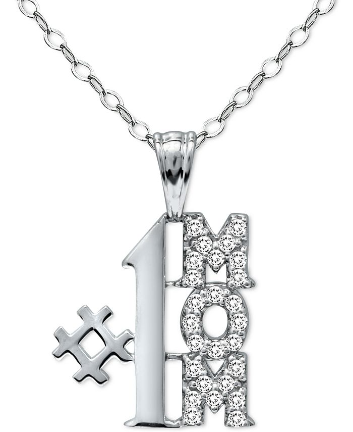 "Giani Bernini - Cubic Zirconia ""#1 Mom"" Pendant Necklace in Sterling Silver, 16"" + 2"" extender"