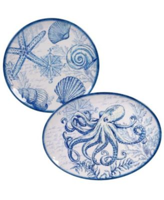Oceanic Melamine 2-Pc. Platter Set