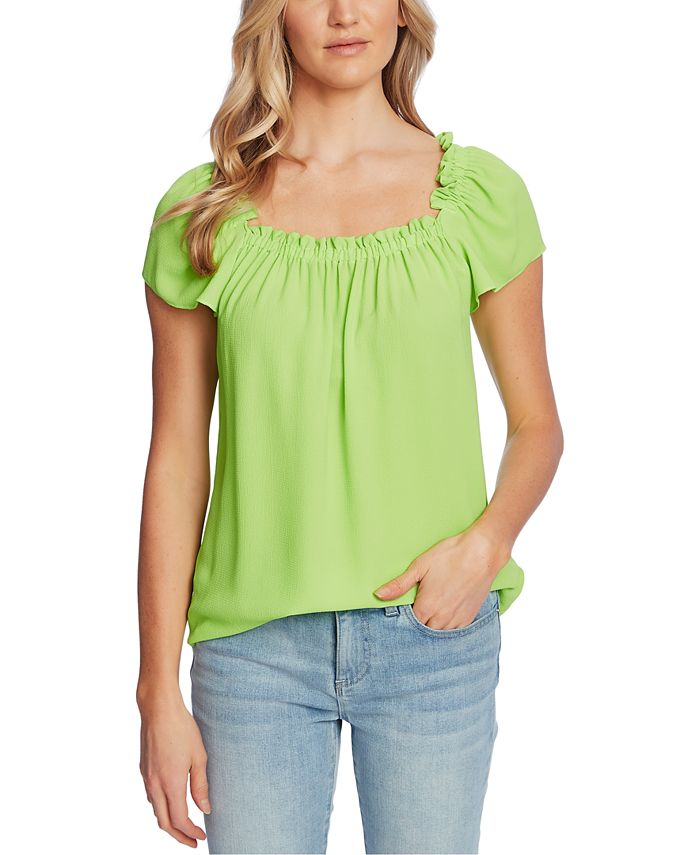CeCe - Smocked Short-Sleeve Top