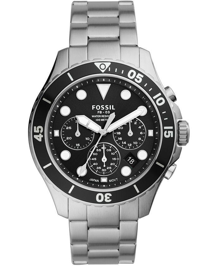 Fossil - Men's Chronograph Mega Machine Stainless Steel Bracelet Watch 46mm