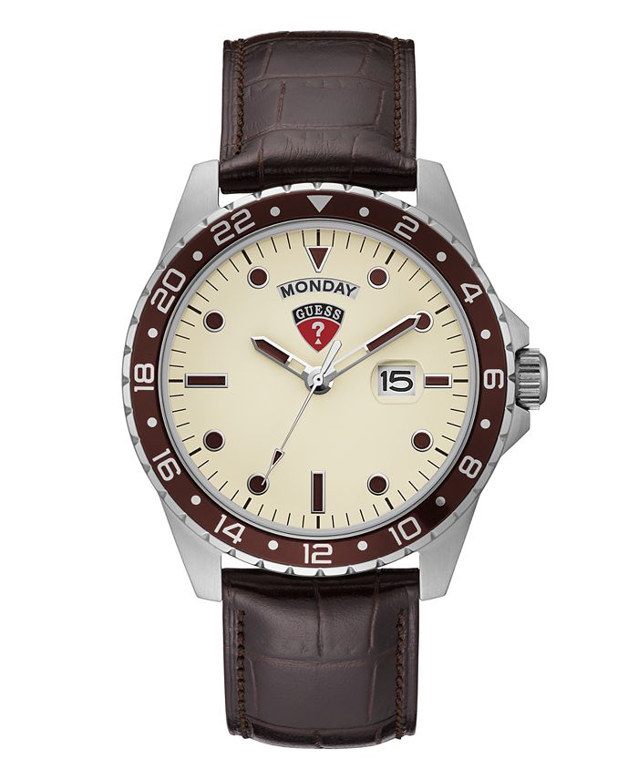 GUESS - Guess Men's Brown Leather Watch 44mm